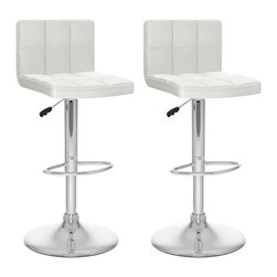 Sonax - Sonax CorLiving High Back Adjustable Bar Stool in White Leatherette (Set of 2) - Sonax - Bar Stools - B417UPD - Add spice to any bar or kitchen island with the barstool with padded seat and stylish high back rest. Features Soft White tufted leatherette upholstery, chrome foot rest, chrome gas lift and chromed base. The contemporary design will accent any decor setting while offering the option to adjust to variable bar heights with ease. A great addition to any home!