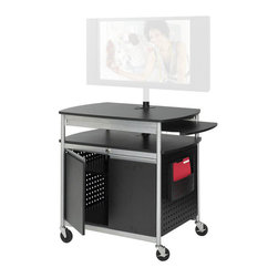 "Safco - Safco Scoot Flat Panel Multimedia Cart - Safco - TV Carts - 8941BL - Store tapes DVDs and other materials securely in locking steel ventilated cabinet. A cost effective way to move your flat-panel monitor from room to room. Holds up to 42"" monitor. Mobile on 4 casters (2 locking). Includes UL approved electrical assembly with surge protector. Includes detachable height adjustable file pocket. Easy assembly instructions included."