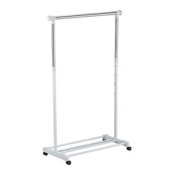 Adjustable Garment Rack - A lightweight rolling rack with chromed steel hanging bar and lower storage shelf for shoes or luggage organizes clothing for loft living, laundry room or out-of-season storage. Rack is both height- and width-adjustable to customize to your needs.