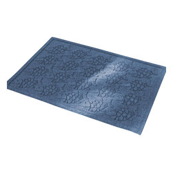 Bungalow Flooring - 24 in. L x 36 in. W Medium Blue Waterguard Tropical Fish Mat - Made to order. Fun fish design traps dirt, resists fading, rot and mildew. Indoor and outdoor use. 24 in. L x 36 in. W x 0.5 in. H