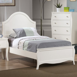 "Coaster - Dominique Twin Bed, White - This beautiful twin bed set creates a gorgeous focal point. Classic details like flared posts, simple curved molding and silver metal knobs add to the timeless style for a sophisticated and inviting youthful bedroom suite. Matching desk available to accommodate your dedicated student. This collection has a look to create a soothing getaway in your child's bedroom they will truly love.; Traditional Style; Finish/Color: White; Box Spring/Foundation Required; Dimensions: 80.25""L x 43""W x 52.25""H"