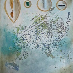 West (Original) by Dyd Art - Found objects on the west coast beach added to this abstract map painting.  Mixed media piece on stretched canvas.  Canvas sides painted and hang wire attached.