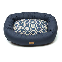 West Paw Design - Bumper Bed dog stuffed bed in Cobalt Groove color option; Small - 2Xlarge, Large - The Bumper Bed® is the perfect blend of country living and city dwelling that provides comfort and cushion that your dog deserves. No matter where your dog calls home, they will have the perfect nights rest or an enjoyable afternoon nap when lying in a Bumper Bed® of their own. Each dog bed is filled with a thick denier 100% recycled  IntelliLoft®  polyfill, making the bed a heaven of cushions. The twill fabric was carefully chosen for its durability and is brushed for added softness. Zippered opening and machine washable cover for easy maintenance. Made in Montana, USA
