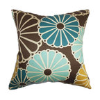 """The Pillow Collection - Gisela Floral Pillow Turquoise Brown 18"""" x 18"""" - This throw pillow brings an energetic vibe to your living space. A floral pattern in shades of turquoise, yellow and white are set against a rich brown background. The big floral print of this square pillow makes a striking detail to your bed, sofa or chair. Decorate this 18"""" pillow with a matching pattern to add texture to your interiors. Made of 100% soft cotton fabric. Hidden zipper closure for easy cover removal.  Knife edge finish on all four sides.  Reversible pillow with the same fabric on the back side.  Spot cleaning suggested."""