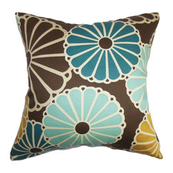 "The Pillow Collection - Gisela Floral Pillow Turquoise Brown 18"" x 18"" - This throw pillow brings an energetic vibe to your living space. A floral pattern in shades of turquoise, yellow and white are set against a rich brown background. The big floral print of this square pillow makes a striking detail to your bed, sofa or chair. Decorate this 18"" pillow with a matching pattern to add texture to your interiors. Made of 100% soft cotton fabric. Hidden zipper closure for easy cover removal.  Knife edge finish on all four sides.  Reversible pillow with the same fabric on the back side.  Spot cleaning suggested."