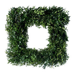 Square Fresh Boxwood Wreath - This boxwood wreath is the perfect touch of green, even if you don't have a green thumb. It's classic, easy to maintain and available in square or round shapes.