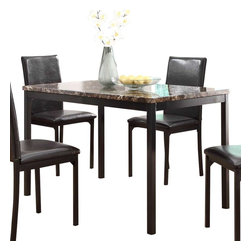 Homelegance - Homelegance Tempe Faux Marble Top Dining Table with Black Metal Base - With a scale appropriate for any number of smaller dining spaces, the Tempe collection will provide the look and style you want in your home. The transitional feel of the group comes from the richly hued faux marble table top and the minimalistic design of The dark brown bi-cast vinyl chairs. The table and chair are constructed of metal in black finish.