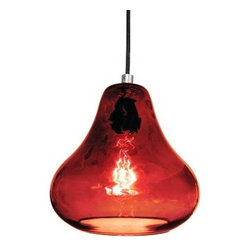 Ruby Red Glass Kiss Pendant Light by Luxello - Kiss Pendant Lamp in Ruby Red by Luxello is a modern crystal glass suspension lamp. The hand blown crystal pear shaped glass diffuser are polished and blown in Los Angeles, California. The dark ruby glass lamp shade surrounds the black light bulb socket. The dark ruby red is an excellent colors with dark wood or amber wood combination settings. A E26/27 socket takes various light bulbs from a vintage Edison to an energy saving LED PAR spot.