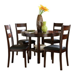 Standard Furniture - Standard Furniture Pendleton 5-Piece Dining Room Set in Dark Merlot Cherry - Clean casual styling gives Pendleton a laid back character that's all about today's relaxed home life.