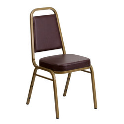 Flash Furniture - Hercules Series Trapezoidal Back Stacking Banquet Chair with Brown Vinyl - This is one tough chair that will withstand the rigors of time. With a frame that will hold in excess of 500 lbs., the Hercules Series Banquet Chair is one of the strongest banquet chairs on the market. You can make use of banquet chairs for many kinds of occasions. This banquet chair can be used in Church, Banquet Halls, Wedding Ceremonies, Training Rooms, Conference Meetings, Hotels, Conventions, Schools and any other gathering for practical seating arrangements. The banquet chair is also great for home usage from small to large gatherings. For any environment that you use a banquet chair it will put your guests at a greater comfort level with the padded seat and back. Another advantage is the stacking capability that allows you to move the chairs out of the way when not in use. With offerings of comfort and durability, you can be assured that you can enjoy this stacking banquet chair for years to come.