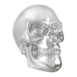 Zeckos - Chrome Plated Human Skull Statue Figure - This wickedly awesome human skull figure / statue has a beautiful chrome plated finish. Made of cold cast resin, it has the look and weight of metal. The figure stands 5 1/2 inches tall, is 6 1/4 inches deep, and 4 inches wide. It makes a great Halloween decoration, and is a great gift for any skull lover.