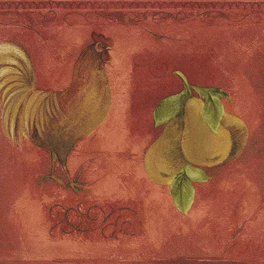 York Wallcoverings - Yellow Rooster & Fruits Vintage Wallpaper Border - Wallpaper borders bring color, character and detail to a room with exciting new look for your walls - easier and quicker then ever.