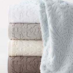 """Kassatex - Kassatex """"Firenze"""" Bath Towel - Art and design collide. The results—classically elegant towels that define casual luxury. Made of 100% long-staple, combed Turkish cotton, piece-dyed jacquard with a velour cuff. 630 gsm. Machine wash. Available in (listed top to bottom) Skylig..."""