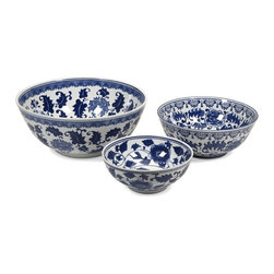 iMax - Tollmache Bowls, Set of 3 - In a style reminiscent of New Burleigh and antique transferware, the Tollmache bowls have a subtle, sophisticated oriental inspiration mixed with modern technique that makes this set of three an one of a kind collection for any home.