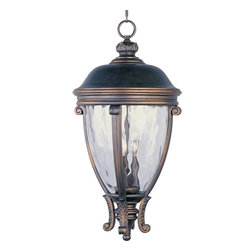 Maxim Lighting - Maxim Lighting Camden VX -Outdoor Hanging Lantern X-OGGW92414 - Don't let the Maxim Lighting Camden VX Outdoor Hanging Lantern fool you! On the surface, this pendant light comprises of a Water Glass shade framed in a Golden Bronze finish. Yet, this light fixture is fashioned from Vivex, a non-corrosive substance twice as strong as resin, and UV resistant with a 3-Year Limited Warranty.