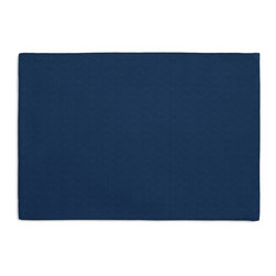 Blue Solid Basketweave Custom Placemat Set - Is your table looking sad and lonely? Give it a boost with at set of Simple Placemats. Customizable in hundreds of fabrics, you're sure to find the perfect set for daily dining or that fancy shindig. We love it in this crisp outdoor fabric with basketweave texture in nautical blue.