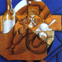 """Juan Gris Glass, Cup and Bottle - 16"""" x 20"""" Premium Archival Print - 16"""" x 20"""" Juan Gris Glass, Cup and Bottle premium archival print reproduced to meet museum quality standards. Our museum quality archival prints are produced using high-precision print technology for a more accurate reproduction printed on high quality, heavyweight matte presentation paper with fade-resistant, archival inks. Our progressive business model allows us to offer works of art to you at the best wholesale pricing, significantly less than art gallery prices, affordable to all. This line of artwork is produced with extra white border space (if you choose to have it framed, for your framer to work with to frame properly or utilize a larger mat and/or frame).  We present a comprehensive collection of exceptional art reproductions byJuan Gris."""