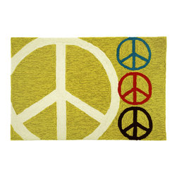 Homefires - Symbols Of Peace Rug - Doves, olive branches and since the 1950s, the iconic peace sign has conveyed the simple message. Let that message resonate in your home with this rug, a colorful rendition of the anti-war emblem. Designed by Michele Killman, the machine-washable accent rug is straightforward and to the point.