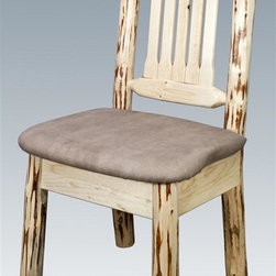 Montana Woodworks - Upholstered Dining Chair - Handcrafted using small diameter lodge pole logs. Heirloom quality. Skip-peeled by hand using old fashioned draw knives. Upholstered seat in the sand pattern. Slat style back increases comfort. Made from solid U.S. grown wood. Made in USA. No assembly required. Seat height: 18 in.. Overall: 19 in. W x 18 in. D x 38 in. H (20 lbs.). Warranty. Ready to Finish. Use and Care InstructionsThis wonderful dining side chair is as comfortable as it is unique. This chair incorporates the tried and true mortise and tenon joinery system that has served as a symbol of durability for millennia.