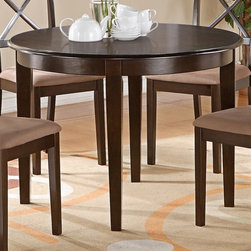 """East West Furniture - Boston Table 42"""" Round with 4 Tapered Legs in Cappuccino Finish - Boston T able 42"""" Round with 4 Tapered Legs in Cappuccino Finish; Boston T able 42"""" Round with 4 Tapered Legs; Round dinette or kitchen table with 4 straight legs; Contemporary styling features clean, simple lines to match any decor; Crafted from durable Asian solid woods; Available finishes include rich cappuccino stain; Stylish X back chairs available with choice of wood seats or upholstered seats; Space-saving round tables make the perfect solution for small kitchen or dining nook seating; Weight: 51 lbs; Dimensions: 42""""L x 42""""W x 30""""H"""