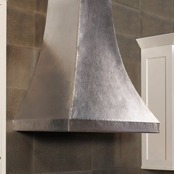 Chalet Brushed Nickel Range Hood by Native Trails - Chalet's gentle curves turn a kitchen range hood into an elegant silhouette. Wrought from recycled 16 gauge copper, this professional grade range hood exemplifies getting away from it all through centuries-old artisan tradition. Available in Antique or Brushed Nickel finish.