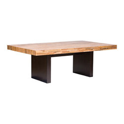 Santomer Dining Table - This stately table is bold, simple, and eco-friendly. The contrast between the color of the base and top allow a range of woods to go with it in the same room, and the clean lines allow a range of chair shapes to pull right up to it.