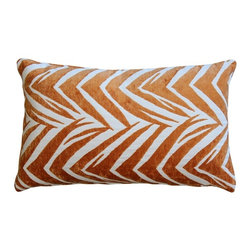 Pillow Decor - Pillow Decor - Samba Orange 12 x 20 Throw Pillow - The Samba Orange 12 x 20 Rectangular Throw pillow features a soft chenille in tangerine orange woven into a white background fabric. This contemporary design combines the visual appeal of a classic zigzag pattern with the suggestion of tiger stripes.