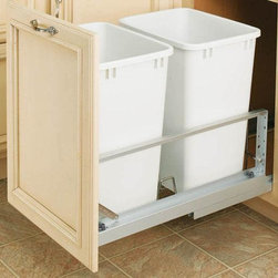 Home Decorators Collection - Rev-A-Shelf Premiere Double 35-Qt Waste Containers - Dispose of trash quickly and keep it out of the way with our Rev-A-Shelf Premiere Double 35-Quart Waste Containers. Two white plastic trash bins sit securely in a slide-out shelf, ready to catch refuse and recyclables. Features full-extension soft close ball-bearing slides. Trash bins are removable for easy cleaning. Door mount kit included to mount cabinet door to waste container. Optional lids sold separately.