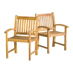 Great Deal Furniture - Carillo Natural Stained Wood Outdoor Dining Chairs (Set of 2) - The Carillo Natural Stained Wood Outdoor Dining Chairs will adapt nicely to any outdoor space they are placed in. The chairs offer a comfortable solution to outdoor or indoor dining. The simple lines of the frame and seat give the Carillo dining chairs a contemporary feel and make the pieces easy to integrate into any outdoor environment.