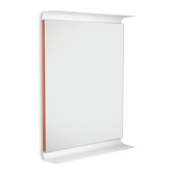 WS Bath Collections - Curva 5689 LED Lighted Wall Mirror with Shelves, Orange - Curva by WS Bath Collections, LED Lighted Wall Bathroom Mirror with Shelves, in Painted Aluminum, Available in White, Red, Brown, Orange, Pink or Dark Grey