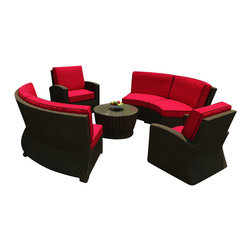 Forever Patio - Barbados 5 Piece Outdoor Curved Sectional Set, Flagship Ruby Cushions - Give your patio a new, modern look and lots of outdoor seating with the Forever Patio Barbados 5 Piece Rattan Outdoor Sectional Set with Red Sunbrella cushions (SKU FP-BAR-5SEC-EB-FB). The set seats 6 adults comfortably and features Ebony resin wicker with a flat-woven design. Each strand of this outdoor wicker is made from High-Density Polyethylene (HDPE) and is infused with its rich color and UV-inhibitors that prevent cracking, chipping and fading ordinarily caused by sunlight, surpassing the quality of natural rattan. The round outdoor sofa set is supported by thick-gauged, powder-coated aluminum frames that make it extremely durable. Also included are cushions covered in fade- and mildew-resistant Sunbrella fabric. The deep seats and plush cushions make this curved patio sofa set a delight to enjoy with family and friends.