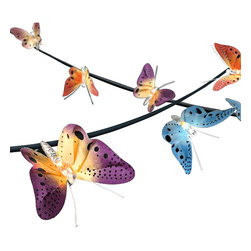 "Lamps Plus - Transitional Spring Butterfly 14-Foot Fiber Optic LED String Light - Add a beautiful touch to your next party or decorate any space with this colorful plug-in LED string light. A 14-foot long cord holds ten energy efficient LED modules within multi-color butterflies that feature delicate fiber optic strands woven throughout the wings to enhance the lighting effect. Hooks are attached to the base of each butterfly to allow for easy set-up. Multicolor party string light. Multicolor butterfly motif. Fiber-optic strands woven into wings. 10 lights. Hook on each butterfly allows easy display. Each light contains one 1 watt integrated LED array (10 watts total). Each light has an output comparable to a 7 watt incandescent bulb. 84"" (14') long. 4"" high. 4"" deep.   Multicolor party string light.  Multicolor butterfly motif.  Fiber-optic strands woven into wings.  10 lights.  Hook on each butterfly allows easy display.  Each light contains one 1 watt integrated LED array (10 watts total).  Each light has an output comparable to a 7 watt incandescent bulb.  84"" (14') long.  4"" high.  4"" deep."