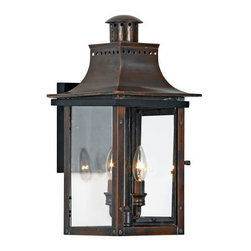 Quoizel Lighting - Quoizel CM8410AC Chalmers 2 Light Outdoor Wall Light, Aged Copper - Long Description: From the Charleston Copper Lantern Collection, this piece gives you the historic look of gas lighting, but without the hassle of a propane feed. It is all electric, solid copper and hand riveted, giving your home the romantic, reproduction style of antique gas lights still popular today on many of the charming homes in New Orleans and Charleston.