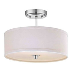 Chrome Semi-Flush Ceiling Light with White Drum Shade -14-Inches Wide -