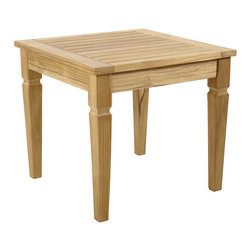 Ballard Designs - Classic Teak Side Table - Pair with our Madison Collection, Laurel Collection and West Hampton Collection. Slats allow water to drain through. With its airy slatted top and crisply tapered legs, our Classic Teak Side Table has a timeless look designed to last. It's hand crafted of solid FSC-certified teak, making it naturally resistant to harsh weather and damaging insects. If left untreated, teak finish will mellow to a warm silvery gray over time. Classic Teak Side Table features. .