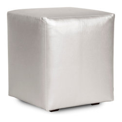 Howard Elliott - Shimmer Mercury Universal Cube Cover - Shimmer Cubes do just that. This shimmering faux leather fabric will entice your fashion senses while adding a futuristic flair to your decor. The simple design of the Shimmer Cubes makes them great to use as side tables, ottomans, alternate seating and more. This Shimmer Mercury piece is 100% polyurethane finished in shimmering mercury faux leather. 18 in. W x 18 in. D x 20 in. H