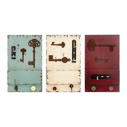 Long Lasting Wall Hook in Different Colors - Set of 3 - A perfect combination of traditional style and modern elegance, this set of 3 wood wall hook offers your interiors an aesthetic appeal. An ideal key holder, this broad wall hook is a stand out item in your decorative accessories. With 3 wall hooks in striking maroon, cream and light green color, you can fix it at different corners of your living space to add a balanced decorative appeal to your home?s overall look. Made of sturdy metal and finest quality wood, rest assured of its long life and durability. The unique key and lock design of the hook offers it a conventional look. Add this set to your home and augment the visual appeal of your living space. It comes with a following  dimension
