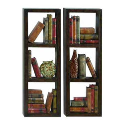 UMA - Sophisticated Library Metal Wall Decor Set of 2 - Stacks of books are stylishly arranged and intermingled with pottery with realistic three-dimensional impact