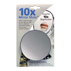 """Floxite - 15x Mirror Mate with Suction Cups - Features: -15x Distortion Free DFP glass mirror. -2 Mini suction cups on the back to attach to any smooth or another mirror for closeup views. -Very good to travel with or put inside your purse. Specifications: -Overall Dimensions: 4"""" Height x 4"""" Width x 0.5"""" Depth."""