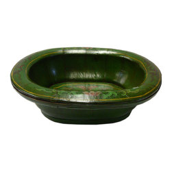 Golden Lotus - Chinese Green Color Floral Oval Wood Bucket - This is an old oval wood bucket with new paint. It is a charm oriental decorative piece for home. ( hand-painted item, there is variation in graphic )