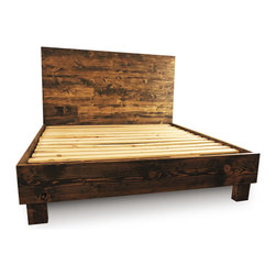 Pereida-Rice Woodworking - Farm Style Platform Bed Frame, Dark Walnut, Queen - A made-to-order bed frame and headboard from Pereida-Rice Woodworking