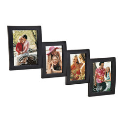 """Philip Whitney - 4 Photo Open Molded Collage Frame, 4""""x6"""" and 5""""x7"""" - Achieve a simple, clean look in your home using this Open Molded Collage Frame. Featuring vertical black wood frames in a graduated side-by-side arrangement, this versatile piece can accommodate two 4-by-6 inch photos and two 5-by-7 inch photos. Sleek and unadorned, this frame makes the perfect decorative addition to a stairway wall."""