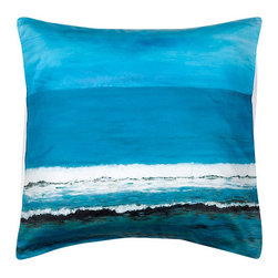 """ARTnBED - Euro Sham """"Beautiful Day"""" - Euro Sham with the painting """"Beautiful Day"""" by the artist Arie Azene. Our shams will coordinate with your existing solid linens for a contemporary and clean look, or you can mix and match them with colors for a powerful statement. Either way, you'll be adding the tranquility and relaxation of the beach to your bedroom."""