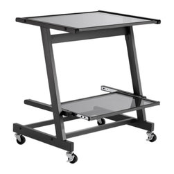 Eurø Style - Zeus Computer Cart without Keyboard Tray in Graphite Black - With clean lines and simple yet attractive appeal, this Zeus Computer Cart by Eurø Style will add convenience to your home/office. A durable powder coated steel frame supports elegant working surface constructed of tempered glass. 4 casters (2 locking) ensure easy mobility. The computer cart is also available in white finish.