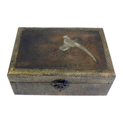 Golden Lotus - Chinese Yellow Pattern Cover Metal Plate Accent Box - This is a decorative box made of wood and covered with a layer of snake skin pattern fabric. The top is a metal plate with oriental scenery.