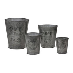 "IMAX - French Garden Pots - Set of 4 - This set of four galvanized garden pots feature elegant French writing and decorative accents. Item Dimensions: (7-9-11-14""h x 6-8-10-12""w x 6-8-10-12"")"