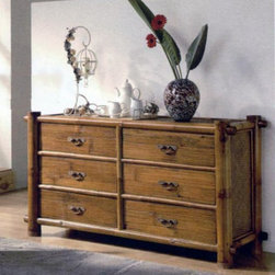 Hospitality Rattan - Hospitality Rattan Havana Six Drawer Dresser - Natural Bamboo Light Brown - 306- - Shop for Dressers from Hayneedle.com! Beautifully designed with expert craftsmanship the Hospitality Rattan Havana Six Drawer Dresser - Natural Bamboo has a gorgeous natural bamboo finish that complements almost any decor. One of the most unique bamboo collections found anywhere in the world the Havana bedroom collection is handmade of authentic Bamboo and incorporates a crushed bamboo laminate as the decor on the drawers along with metal glides for hassle free operation. Bamboo is also a renewable resource so this dresser isn't just sophisticated and unique but also environmentally friendly. Over time this piece may develop hairline cracks which is a natural occurrence with bamboo.About Hospitality Rattan Hospitality Rattan has been a leading manufacturer and distributor of contract quality rattan wicker and bamboo furnishings since 2000. The company's product lines have become dominant in the Casual Rattan Wicker and Outdoor Markets because of their quality construction variety and attractive design. Designed for buyers who appreciate upscale furniture with a tropical feel Hospitality Rattan offers a range of indoor and outdoor collections featuring all-aluminum frames woven with Viro or Rehau synthetic wicker fiber that will not fade or crack when subjected to the elements. Hospitality Rattan furniture is manufactured to hospitality specifications and quality standards which exceed the standards for residential use. Hospitality Rattan's Environmental Commitment Hospitality Rattan is continually looking for ways to limit their impact on the environment and is always trying to use the most environmentally friendly manufacturing techniques and materials possible. The company manufactures the highest quality furniture following sound and responsible environmental policies with minimal impact on natural resources. Hospitality Rattan is also committed to achieving en
