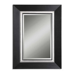 Uttermost - Whitmore Black Wood Mirror - This Solid Wood Frame Features A Smooth, Matte Black Finish. The Frame Is Accented By A Silver Leaf Bead And Rim. A Black Fillet Highlights The Edge Of The Beveled Mirror. May Be Hung Either Horizontal Or Vertical.