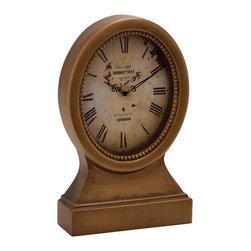 Vintage Themed Wood Table Clock - Description:
