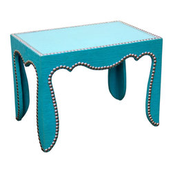"Jonathan Adler - Jonathan Adler Rococo Side Table Blue - The Jonathan Adler Rococo side table radiates sophistication in modern interiors. Upholstered in bright blue, this curved pieces nailhead trim and tempered glass top exude edgy glamour. 12""W x 18""D x 13""H; Handcrafted; Blue cotton linen upholstery; Nickel nailhead trim; Tempered class tabletop"